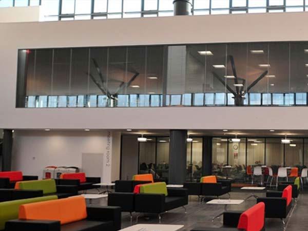College glazed partition installation Clansman Interiors