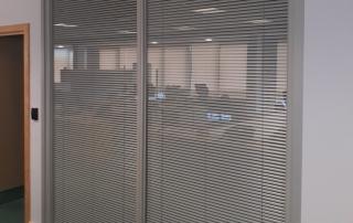 Demountable double glazed partition installation Blantyre